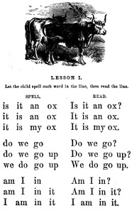 Lesson one from the first McGuffey Reader, 1857 edition.