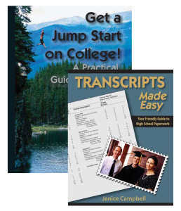 Learn what to do for high school and standardized tests with the Transcripts Made Easy and Get a Jump Start on College bundle.