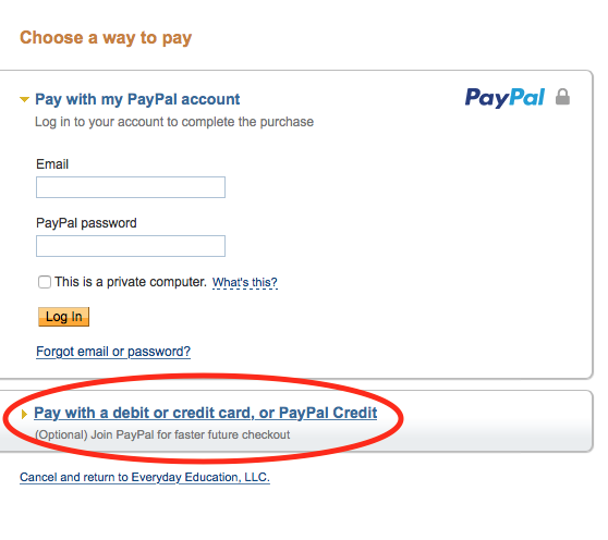 How to pay with credit or debit card without a PayPal account.